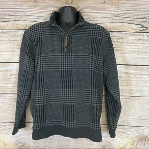 Land's End Plaid Half Zip Pullover Sweater